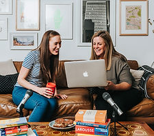 photo of Penny and Bec working on podcast