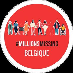 Logo de Millions Missing Belgique: sur un fond rouge, un dessin représentant une diversité de personnes se donnant la main. Certaines d'entre elles sont uniquement illustrées par un contour en pointillés. Le nom Millions Missing Belgique est écrit dessous en blanc