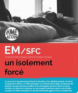 """la photo d'une personne allongée sur son lit. Le texte """"EM/SFC, un isolement forcé"""" est écrit dans un cadre rouge"""