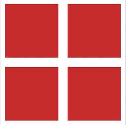 4 carrés rouges contiennent les textes écrits en blanc