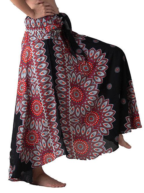 BS012 Maxi Skirt Flower Black