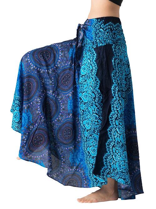 BS017 Maxi Skirt Flower Blue