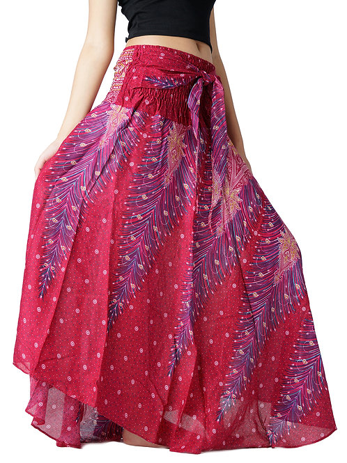 BS007 Maxi Skirt Peacock Red