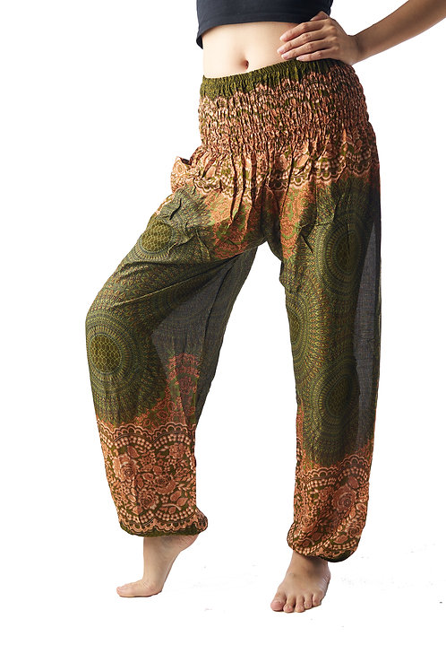 BP015 Long Pants Flower Green