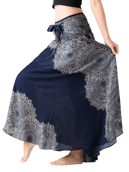 BS027 Maxi Skirt Flower Dark Blue