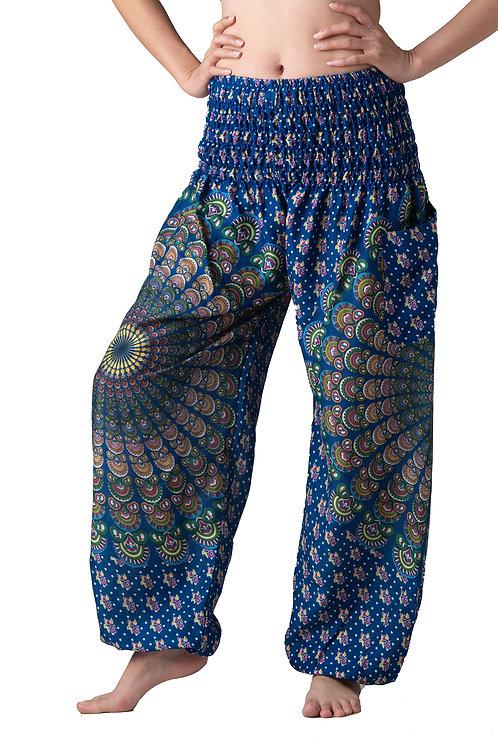 BP001 Long Pants Peacock Feather Blue