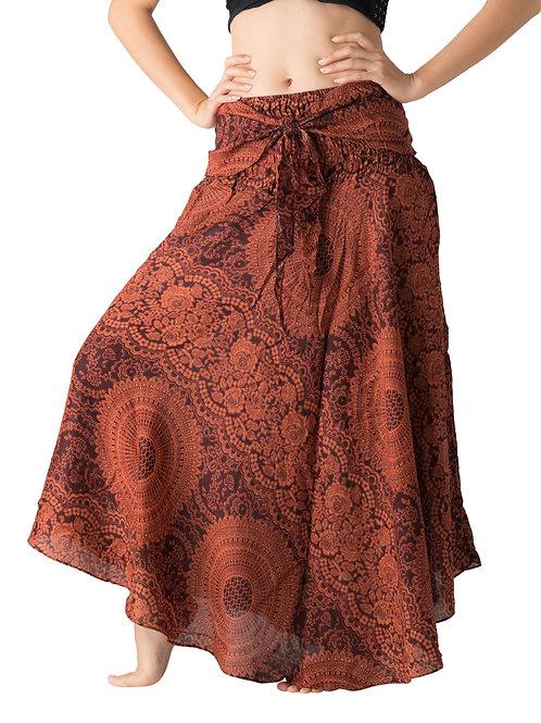 BS018 Maxi Skirt Flower Orange