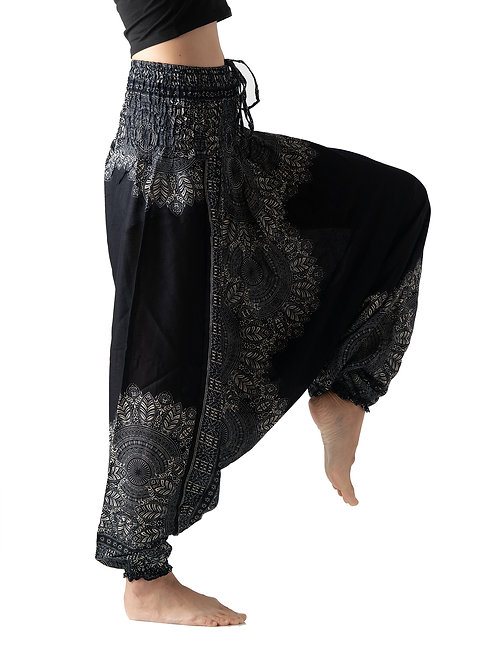 BHP015 Harem Pants Flower Black