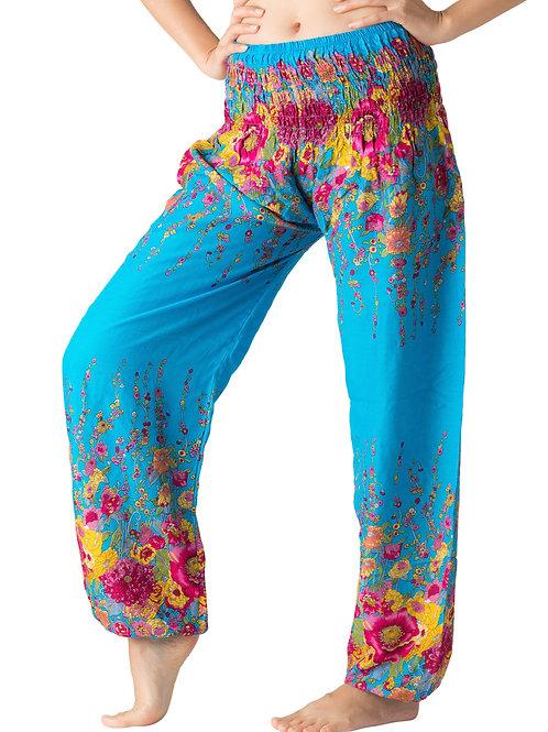 BP032 Long Pants Flower Blue