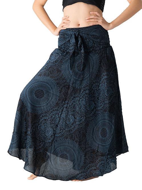 BS019 Maxi Skirt Flower Navy