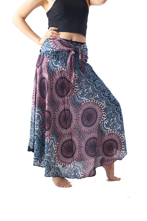 BS014 Maxi Skirt Flower Grey