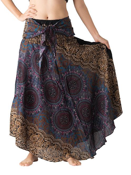 BS021 Maxi Skirt Flower Brown