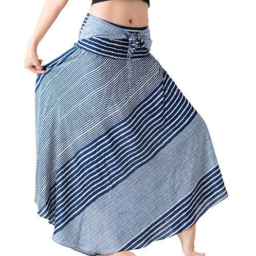 BS032 Maxi Skirt Striped Light Blue