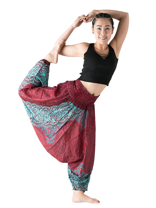 BHP006 Harem Pants  Flower Red