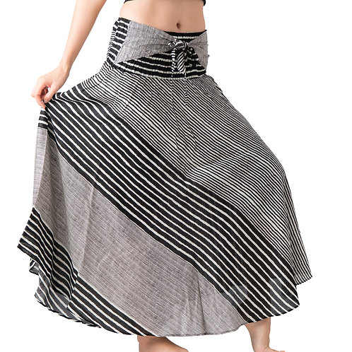 BS032 Maxi Skirt Striped Grey