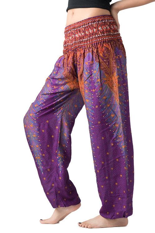 BP033 Long Pants Peacock Feather Purple