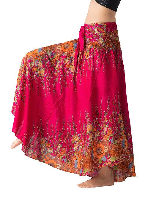 BS024 Maxi Skirt Flower Pink