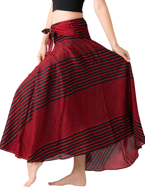 BS031 Maxi Skirt Striped Red