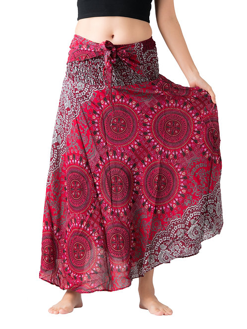 BS022 Maxi Skirt Flower Red