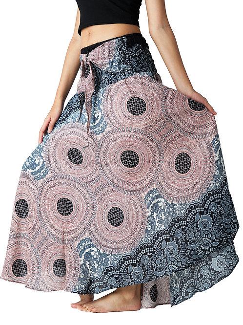 BS035 Maxi Skirt Flower Grey