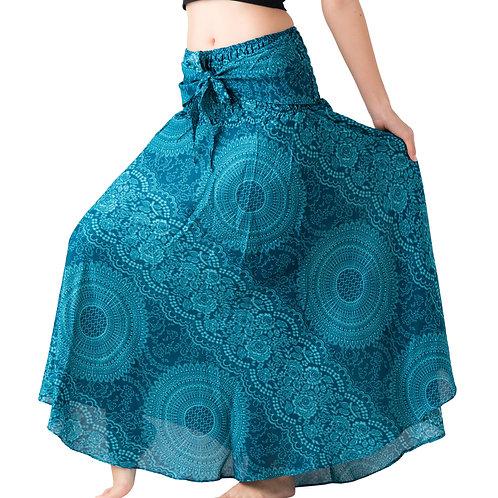 BS026 Maxi Skirt Flower Light Blue