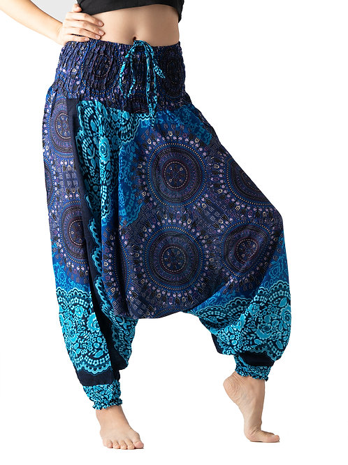 BHP020 Harem Pants Flower Blue