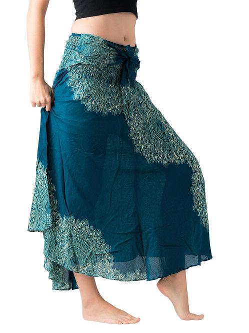 BS025 Maxi Skirt Flower Green