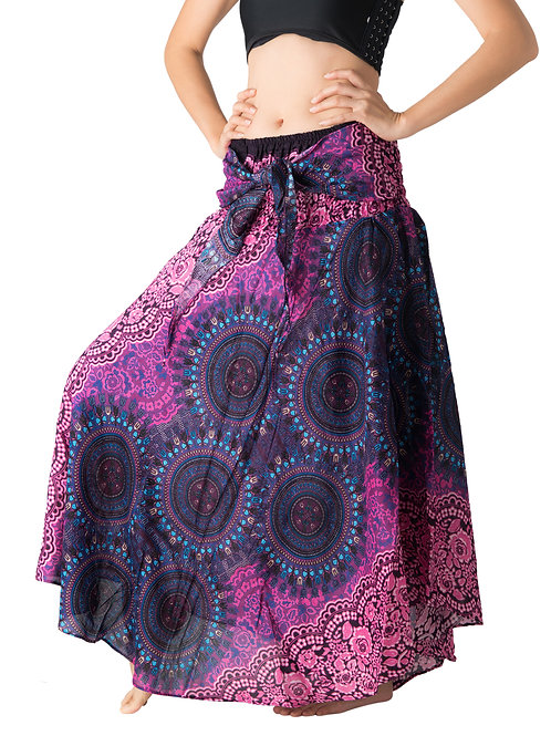 BS023 Maxi Skirt Flower Purple
