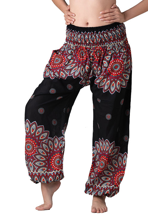 BP005 Long Pants Flower Black
