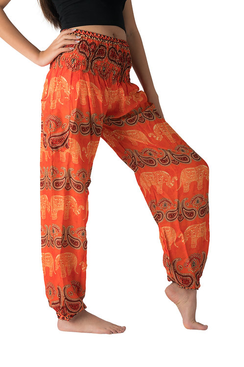 BP031 Long Pants Elephant Red Orange