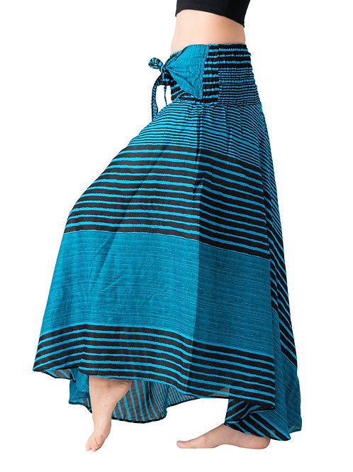 BS030 Maxi Skirt Striped Blue
