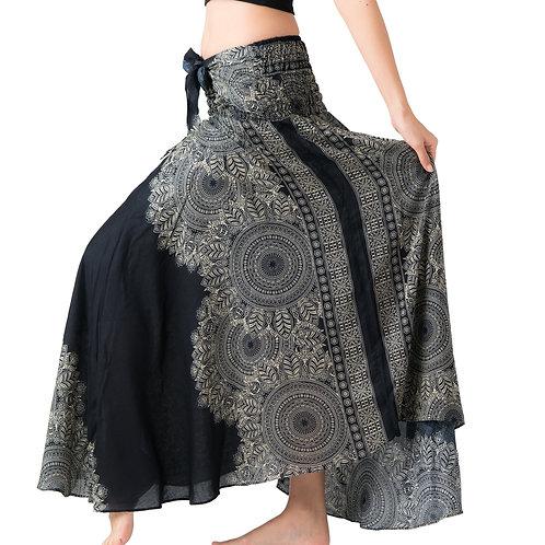 BS028 Maxi Skirt Flower Black