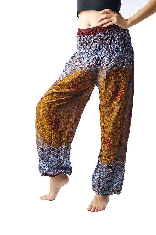 BP014 Long Pants Flower Brown