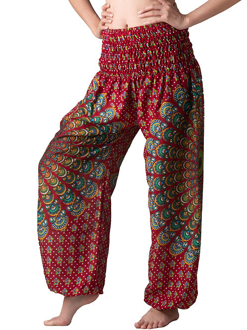 BP003 Long Pants Peacock Feather Red
