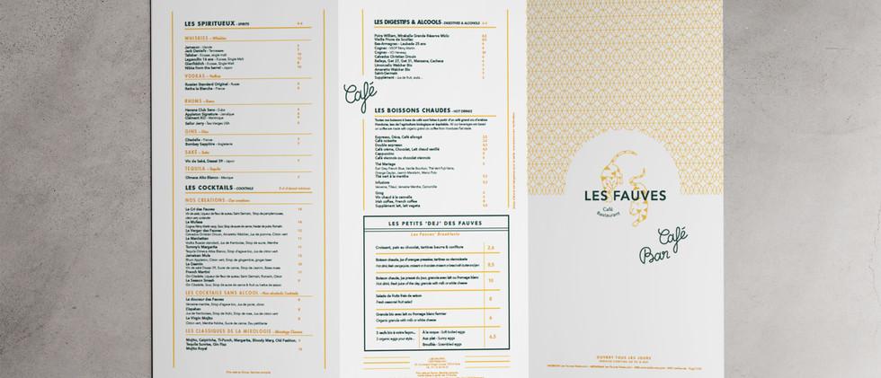 Menu restaurant Les Fauves