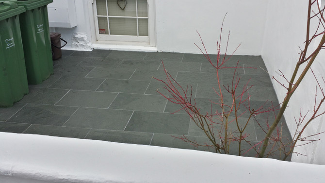 Landscaping, Tiling and Painting Front Garden And Front Of House In Camden, London