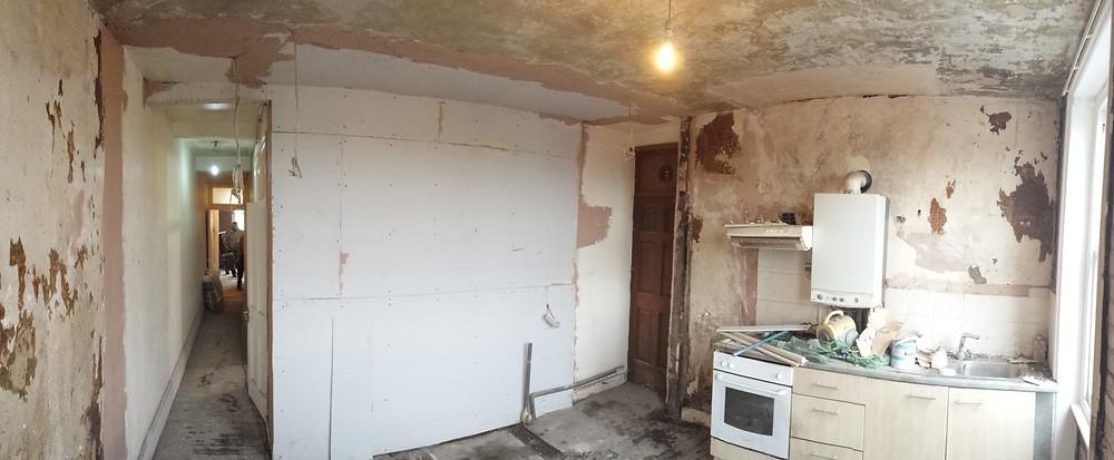 State of kitchen at start of full refurbishment Haringey, London, N4