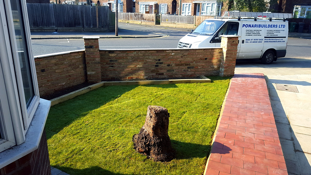 Turfing front garden and building flower beds, Walthamstow, E17