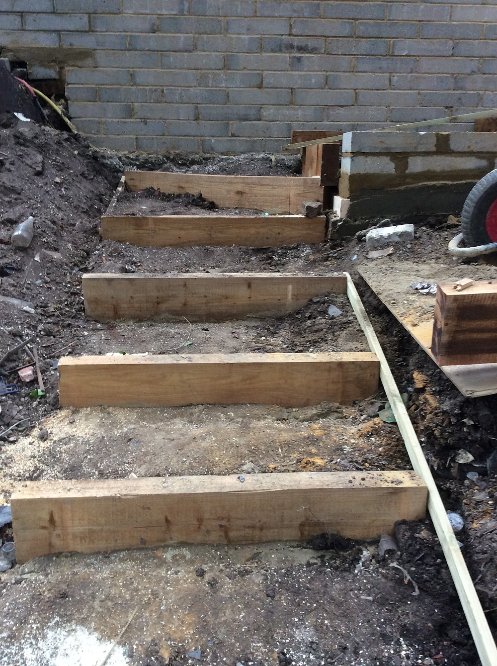 Garden landscaping using concrete bricks and sleepers Muswell Hill, London, N10