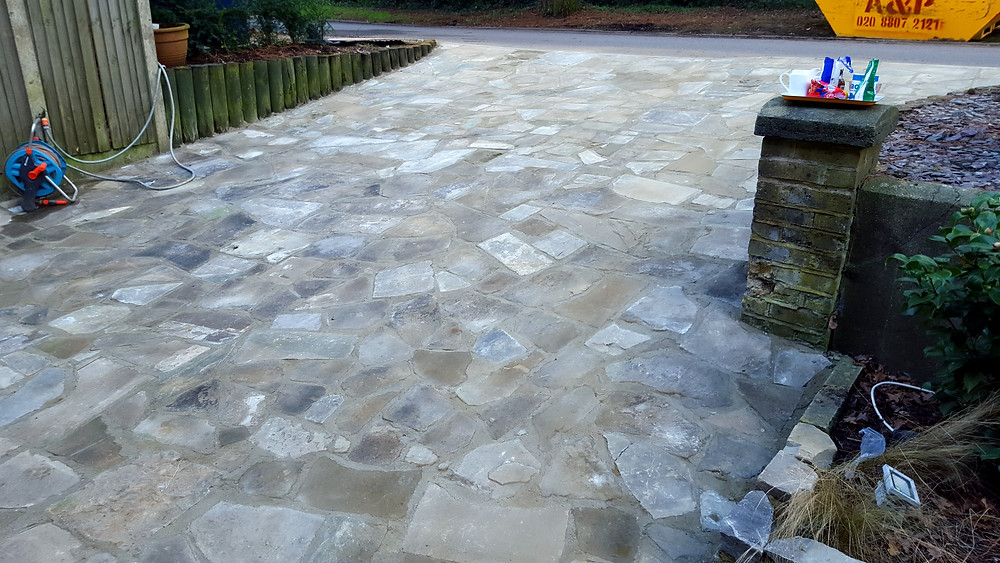 Finished driveway with crazy paving and pointing, Mill Hill, London NW7