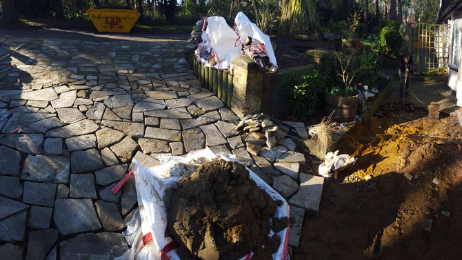 Crazy Paving with Reclaimed Yorkstone in North Finchley, London