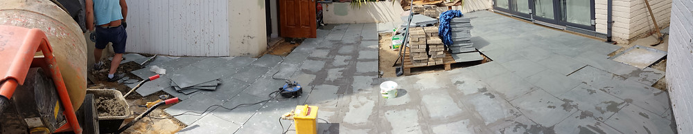 Grouting slate paving