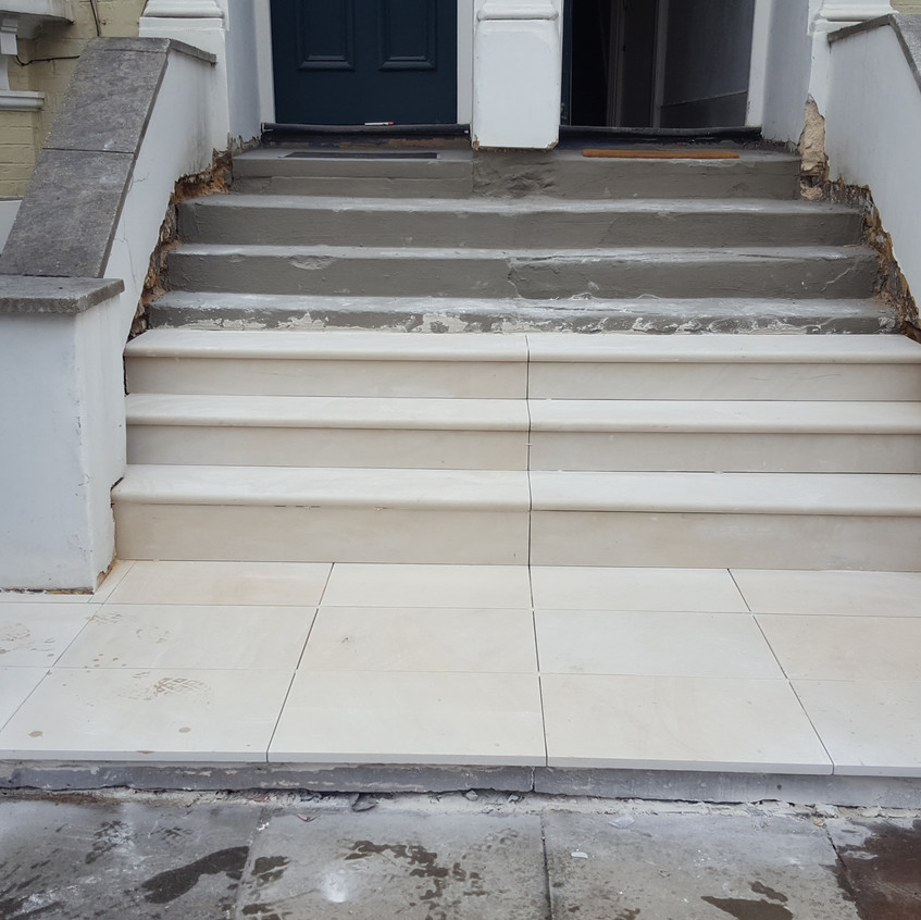 Laying new stone steps, Oval, Nw9