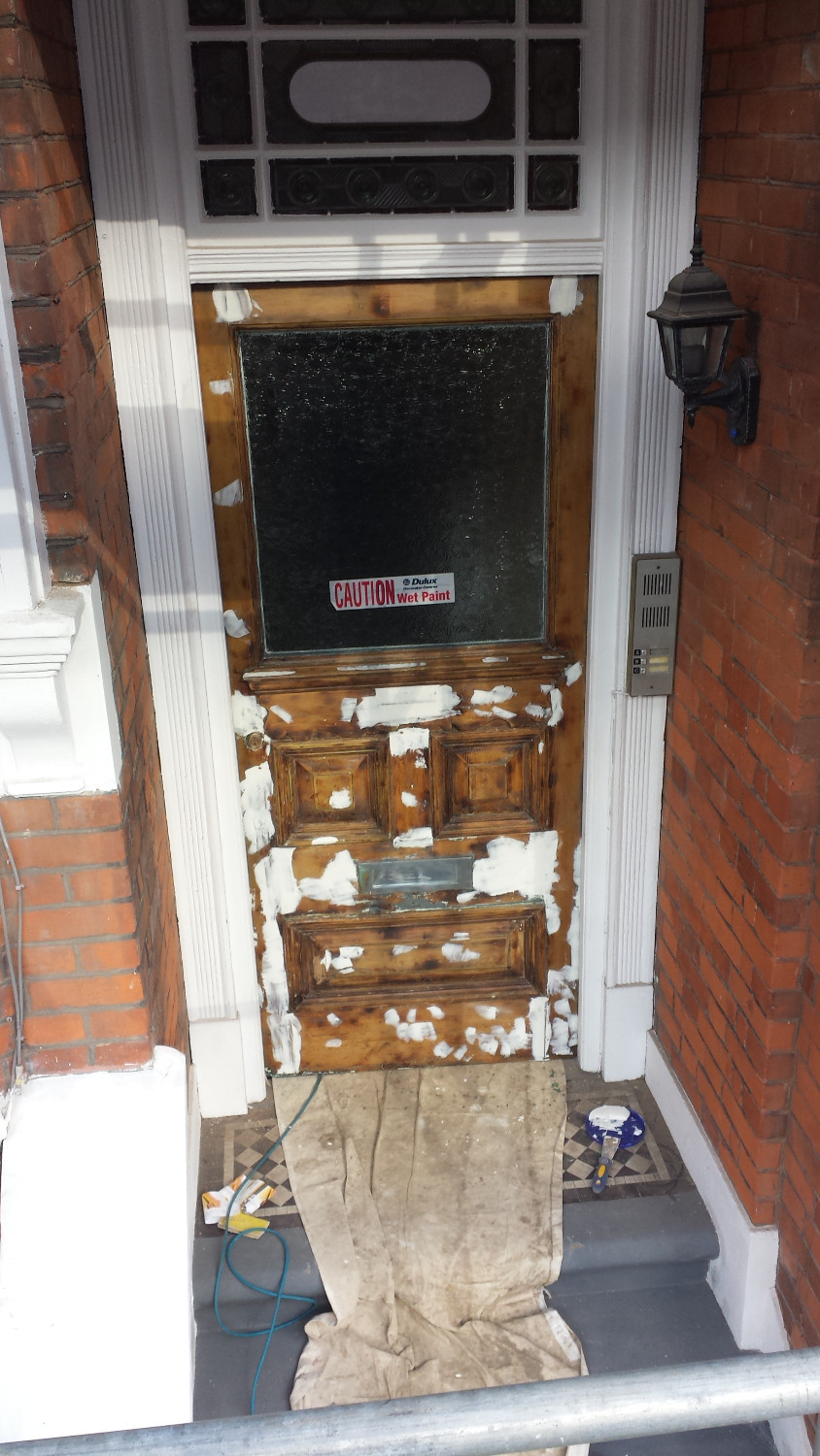Front Door stripped off paint and repaired with wood filler Highgate, London, N6