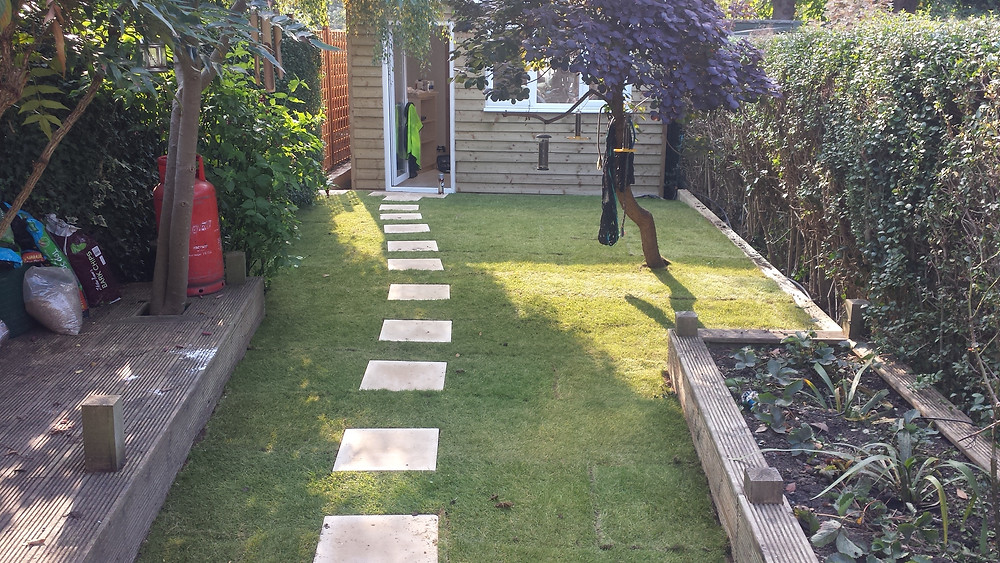 Turfed garden after building studio Stoke Newington, London, N16