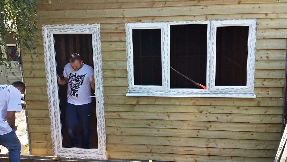 uPVC door and window with timber cladding  Stoke Newington, London, N16