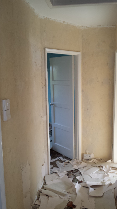 Remove wallpaper to make walls ready for plastering  Muswell Hill, London, N10
