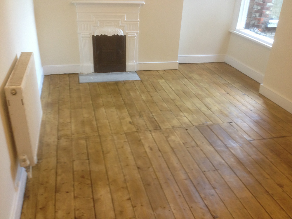 Varnished wood floor boards with clear varnish