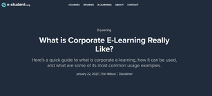 What is Corporate E-Learning Really Like?