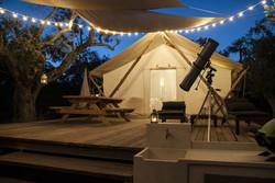 glamping tent night lights